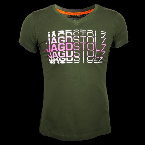 """Jagdstolz Girlie T-Shirt """"Logo 80s Pink"""""""