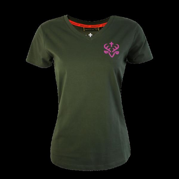 "Jagdstolz Girlie T-Shirt ""Small Logo Pink"""