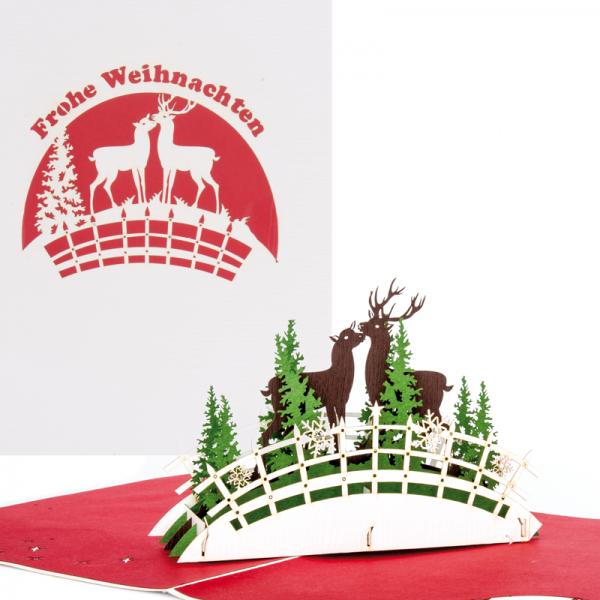 """Pop-up-Karte """"Frohe Weihnachten Hirsch und Hirschkuh"""""""